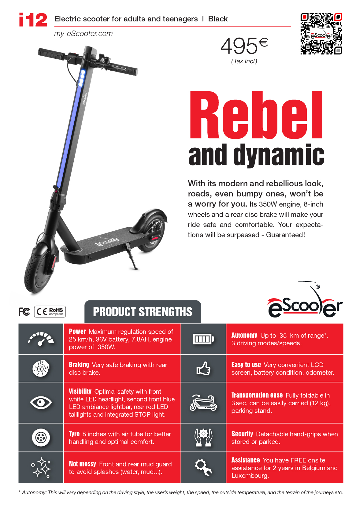 Product sheet electric scooter i12